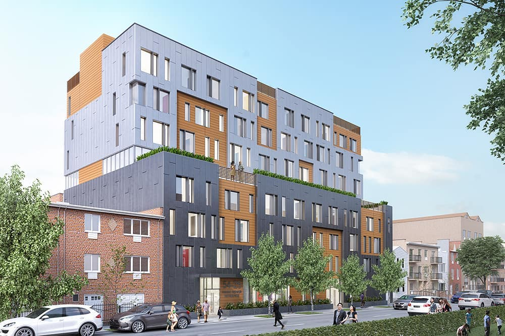 This 57,675 sf, 8-story 68-unit affordable housing apartment building for low-income seniors will meet the NYSERDA Multifamily Performance Standards for Energy Star Certification as well as the Enterprise Green Communities Criteria. It and will also be the first affordable senior housing development in the United States to meet the Passive House Institute design standards.