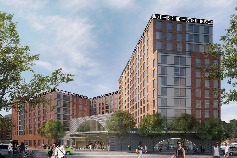 Bronx Commons with INTUS arcade steel reinforced polymer casement balcony doors, window and storefront assemblies.