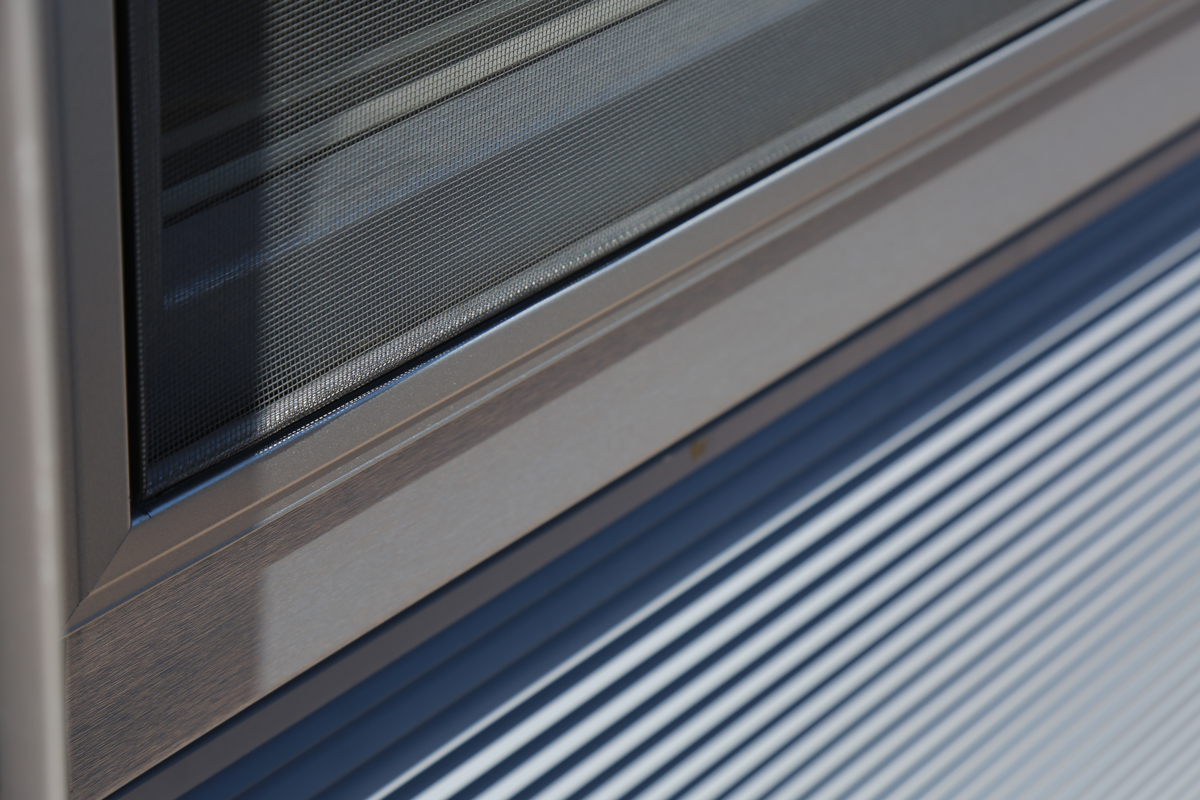 Detail of INTUS windows with louvers at One Dekalb
